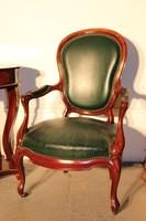 Gyönyörű antik barokk sötét zöld színű bőr fotel!