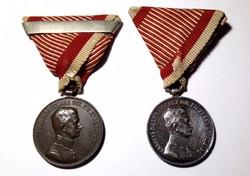 IV. Károly kis Ezüst és Bronz Vitézségi Érem, kitüntetés, szép eredeti darab