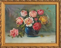 Virágcsendélet (Rózsák kék vázában), olajfestmény