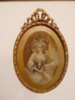 Madame Pompadour Tipoen tűgobelin aranyozott keretben, 32x42 cm