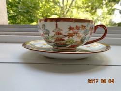 Kutani-japán tojáshéj teás csésze alátéttel-vaspiros-arany peremmel juharfa levéllel (1)