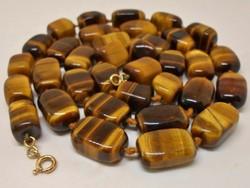 Csodás antik deco tigrisszem nyaklánc 14kt arany kapoccsal