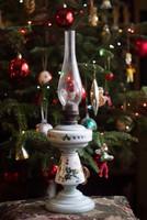 Petróleum lámpa - petróleumlámpa üveg talppal kézzel festett