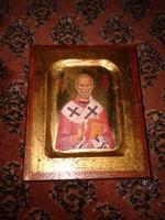 Görög Szent Miklós ? ikon aranyozással, szakrális fali kép