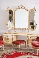 Antik barok rokoko XVI.Lajos stilusú törtfehérfésülködö tükrös komod