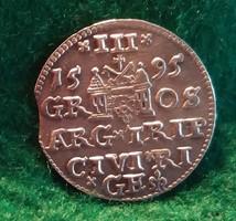 Gyönyörű III. Zsigmond 3 garas 1595 Riga. RRR!  Ezüst 2.4 g.