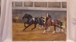 Rácz L. festmény Lóverseny