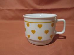 Zsolnay bögre narancssárga szívekkel, csésze