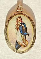 Tűzzománc ezüst szláv Szűz Mária medál