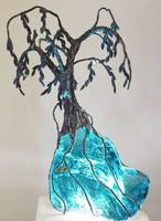 Türkiz fa ólomüveg szobor