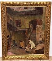 Turmayer Sándor (1879-1953) Tabán belső udvar olajfestménye EREDETI GARANCIÁVAL !!!