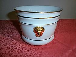 Oroszlánfejes aranyozott porcelán kaspó