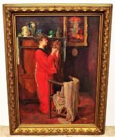 Telkessy Valéria (1870-1950) Hölgy piros köntösben c, olajfestménye 82x62cm EREDETI GARANCIÁVAL !!!