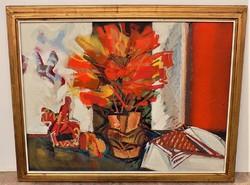 Dobrovits Ferenc(1941-1988) Csendélet c. Képcsarnokos olajfestménye.90x70cm Eredeti Garanciával !!!