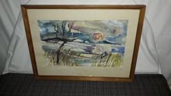 1,-Ft Téli Balaton akvarell festmény!Eredetiségére garancia van!