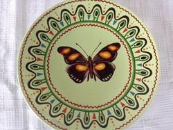 Régi kézzel festett pillangós falitányér