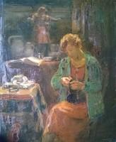 Krusnyák K.Kézimunkázó leány o.,v. jjl,széles blondel keret, restaurált