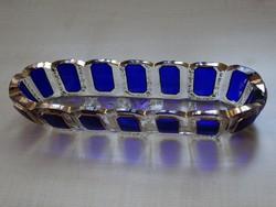 Moser kínáló kobaltkék kaboson dekorral, metszett talppal és aranyozással