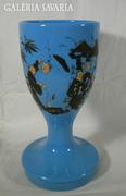 S704 Antik kobalt üveg serleg 1800-as évekből