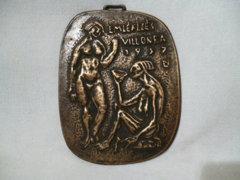 0129 D2 Percz János bronz plakett EMLÉKEZÉS VILLON