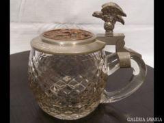 1532 G3 Antik 1909-es üveg ón fedeles kupa
