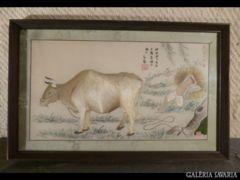 1713 T2 Eredeti régi kínai selyemkép kivarrott kép