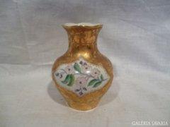 4412 G4 Régi jelzett aranyozott porcelán váza 11cm