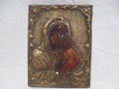 3371 D1 Antik házioltár ikonkép Mária a kis Jézus
