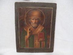 3375 D1 Antik festett ikon kép szentkép XX. század