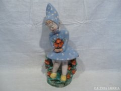 4829 I5 Régi RÁHMER kerámia kislány szobor 34,5 cm