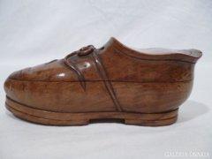 3449 Antik fa cipő alakú gyűrűtartó