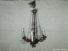 0152 Antik háromágú fa mennyezeti lámpa csillár
