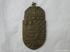 7322 Gyönyörű régi réz magyar címer faliplakett