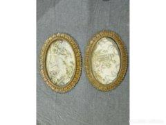 6209 Két goblein kép egyforma antik fém keretben