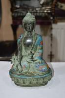 Kínai tűzzománc berakásos réz buddha figura