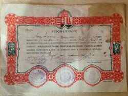 1941 Bizonyítvány ház-légoltalmi őrségparancsnoki tanfolyamról
