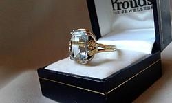 6 ct Akvamarin arany gyűrű 585/14 kr.Igazolással