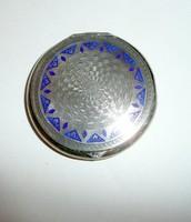 Ezüst art deco zománcozott szelence, pudrié, doboz