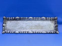 0C638 Régi ezüst pálinkás hólyagos kínáló tálca