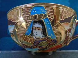 Satsuma Moriage Nippon(Nagy Japán) teás csésze Kannon és Rakan minta