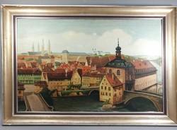 Rare Old City Scene Original Signature Painting, Exclusive Antique Landscape Panorama Oil Painting