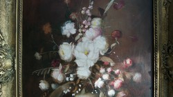 Hatalmas !!! 80x60-as virág csendélet olaj vászon !