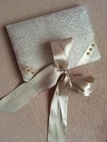 Selyem brokáttal bevont notesz napló szatén masnival akár esküvői vendégkönyvnek