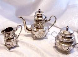 Fantasztikus, pazar állapotú keleti teás vagy kávés készlet, kanna, kiöntő, cukortartó együtt