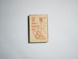 Retro reklám gyufa gyufásdoboz - MEOSZ OKBT mozgáskorlátozott parkoló - 1970-es évekből