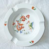 Kardos Meisseni kézzel festett madár és sárkány motívumos porcelán hamutartó