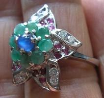 925 ezüst gyűrű rubin, zafír, smaragd, topáz 18,5/58,1 mm,