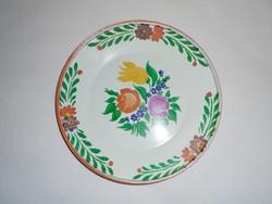 Retro festett fém lemez fali tányér dísztányér - 20 cm átmérő