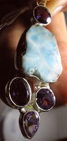 925S ezüst medál larimárral és ametisztekkel