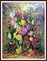 Káprázatos jelzett virágcsendélet - olaj, 61 x 46 ( nem nyomat, valódi olajfestmény)